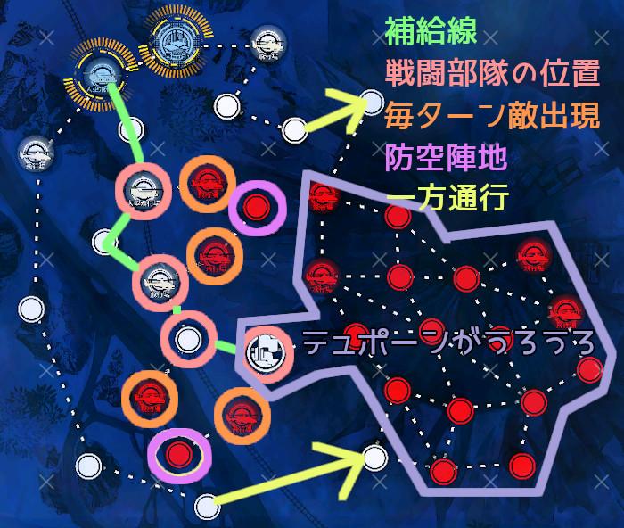 秩序乱流3-3a 補給線中央ルート説明